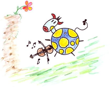 Eine Kuh spielt Geige
