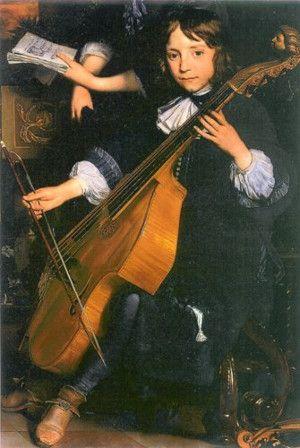 der junge Van den Tempel im Unterricht (Viola da Gamba)